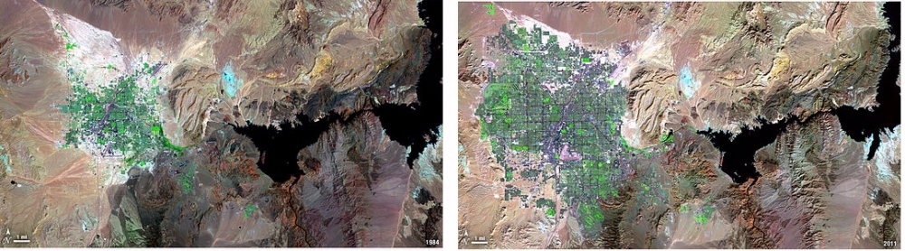 Landsat images of the Las Vegas, Nevada area, taken in 1984 (left) and 2011 (right). The city - grey and green - is bigger. The lake - dark blue - is smaller. When there's no more lake, there's no more city.