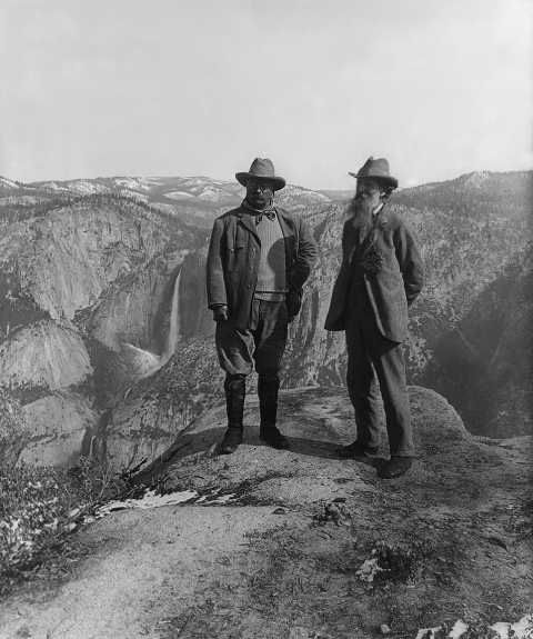 President Theodore Roosevelt, left, and John Muir, on the right, in front of Upper and Lower Yosemite Falls.  Teddy's standing close to the edge, but he was never one to be cautious.